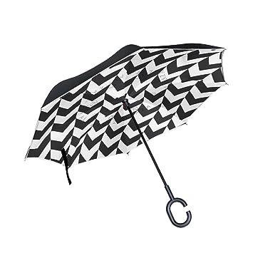 BENNIGIRY Chevrons - Paraguas invertido Plegable en el Interior hacia Abajo - Paraguas Impermeable irrompible Resistente