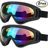 Lot de 2paires de lunettes pour ski, snowboard, skate, moto, cyclisme, pour enfant, homme ou femme, protection UV 400, coupe-vent, verres antireflets