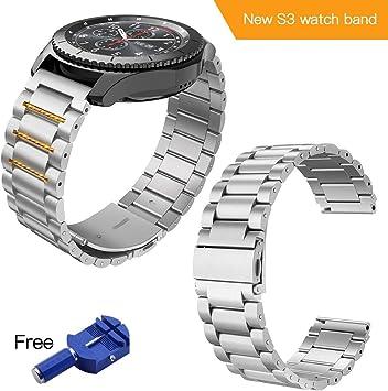Correa para Samsung Galaxy Watch 46mm Gear S3 Frontier / Classic Pulsera Reemplazo de Acero Compatible con Todos los Relojes de 22 mm (Plata): Amazon.es: Deportes y aire libre