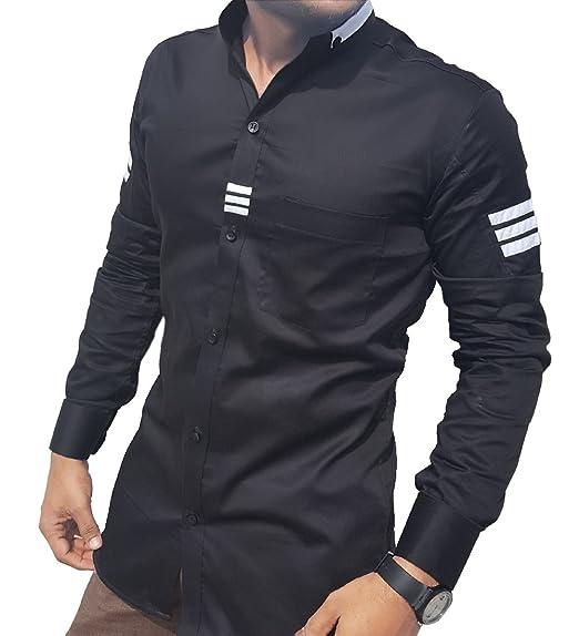 dc199ed640 S.N. Casual Shirts for Men,White & Black Cotton Shirt,Long Sleeves,Slim fit,  Casual Shirt.