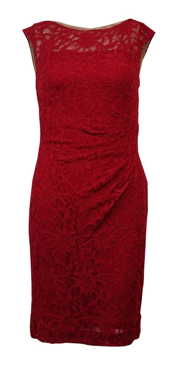 Ralph Lauren Lauren Women's Sleeveless Lace Ruched Sheath Dress (14P, Rivet Red) by RALPH LAUREN