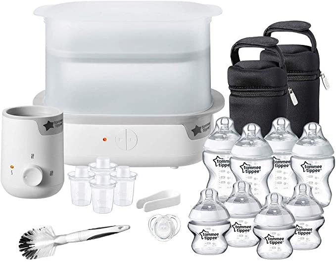 Tommee Tippee Steriliser, Warmer and 8x Bottles Complete Feeding Set, White