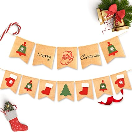 Merry Christmas Burlap Banner Home Xmas Holiday Decoration for Mantel Fireplace Hanging Decor AND Reindeer-sled Banner