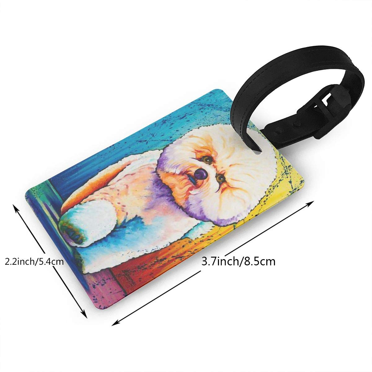 2 Pack Luggage Tags Bichon Frise Baggage Tag For Suitcase Bag Accessories