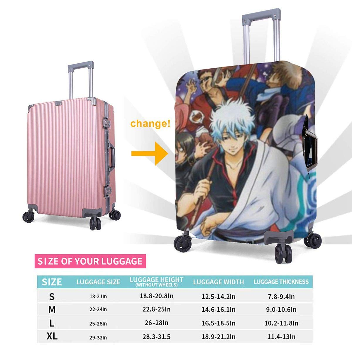 Gintama Suitcase Protector Travel Luggage Cover Fit