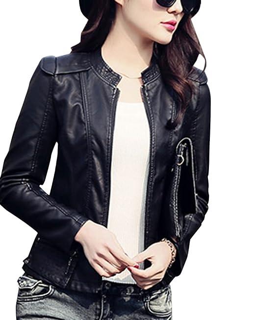 DianShao Chaqueta De Cuero Corta De PU Imitación De Cuero para Mujer Jacket