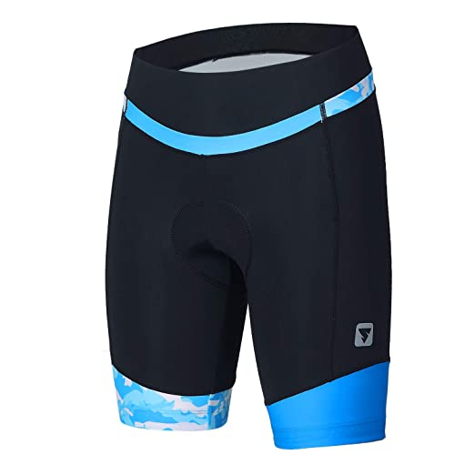 Womens Cycling Shorts with 3D Padded Camo Ride Bike Shorts with Reflective  Elements(Blue 8cddd014b