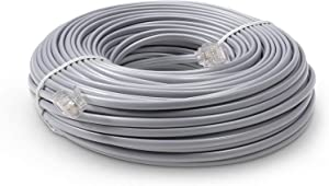 THE CIMPLE CO Phone Line Cord 50 Feet - Modular Telephone Extension Cord 50 Feet - 2 Conductor (2 pin, 1 line) Cable - Works Great with FAX, AIO, and Other Machines - Grey
