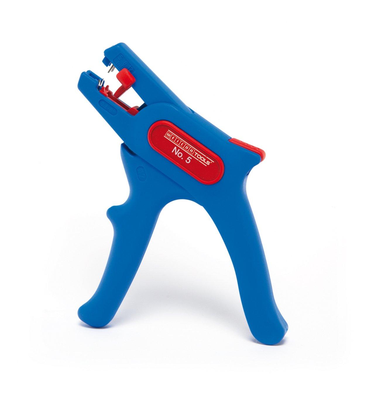 WEICON automatische Abisolierzange No.5 | Abisolierer selbsteinstellend 0, 2 - 6 mm (24 - 10 AWG) | Abisolierwerkzeug mit Seitenschneider bis 2 mm |  Abisolieren von Rundkabeln | TÜ V | blau / rot | 100% Made in Germany 51000005