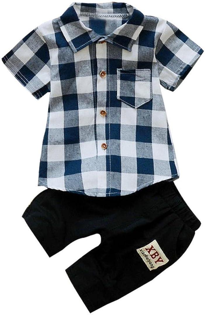 Jimmackey 2pcs Bambino Ragazzo Plaid Camicia T Shirt Cime Pantaloncini Abiti Set