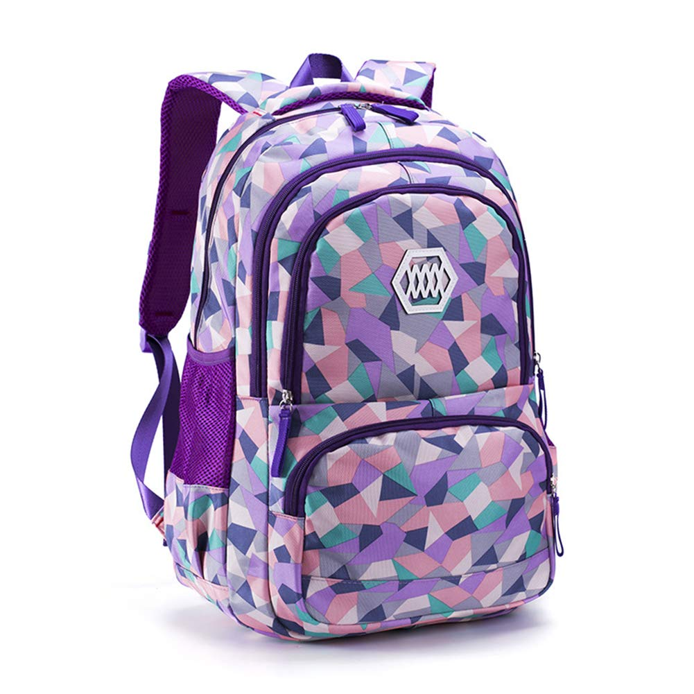 Backpack for Girls School Bookbag Daypack Travel bag Geometric Prints (Purple)