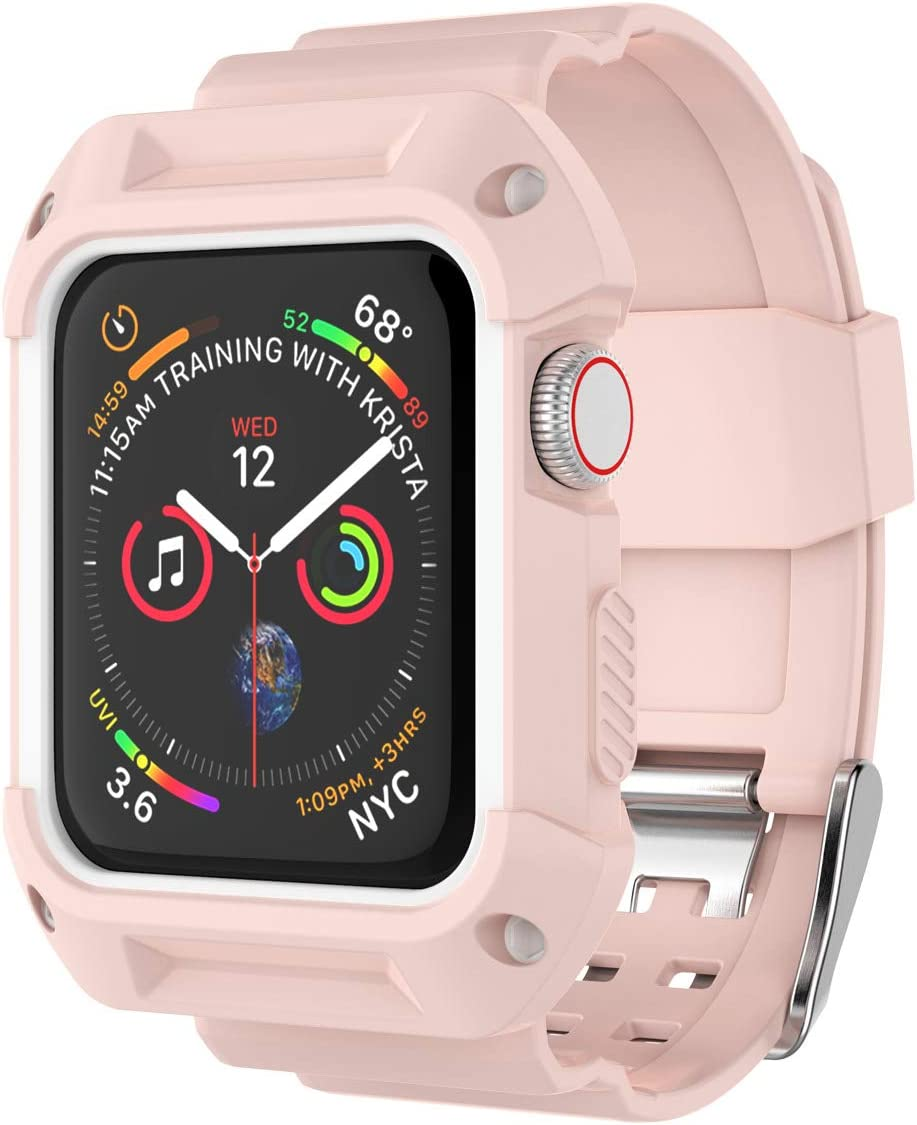 Njjex Smartwatch Band with Case for Apple Watch Bands 38mm 42mm Series 3 Series 2 Series 1, Soft Silicone Protective Bumper Replacement Strap Band Wristband for Apple Watch iWatch Series 3 2 1 [Pink]