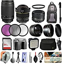 Ultimate Lens Accessory Bundle with Nikon 70-300mm Manual Lens + 50mm f/1.8G + 6.5mm f/3.5 Fisheye for D5500 D5300 D5200 D5100 D3300 D3200 D3100 + Filters + Backpack + 64GB Card + Case + LED Light