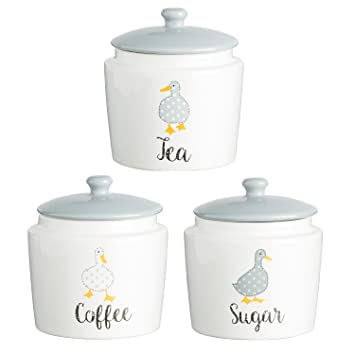 Price kensington madison ducks fine porcelain tea coffee sugar storage set includes free large kilner
