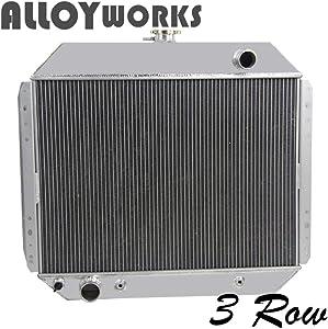 ALLOYWORKS 3 Row Aluminum Radiator for Ford Trucks F100 F150 F250 F350 1966-79 / Bronco V8 1978-79