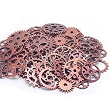 Lautechco 1 Pack Alloy Mechanical Steampunk Cogs & Gears DIY Handmade Jewelry Accessories (Copper)