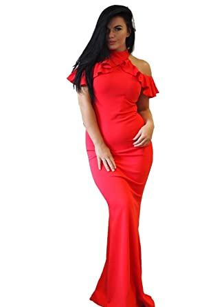 b7db5089bd5 Ex-Chain Store Brands Ex-ASOS Cold Shoulder Frill top Maxi Dress in red   Amazon.co.uk  Clothing