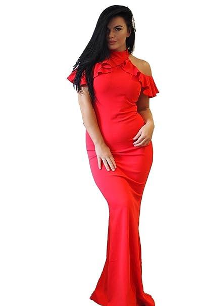 Ex-Chain Store Brands Ex-ASOS Frío Volante Superior Maxi Vestido En Rojo 34