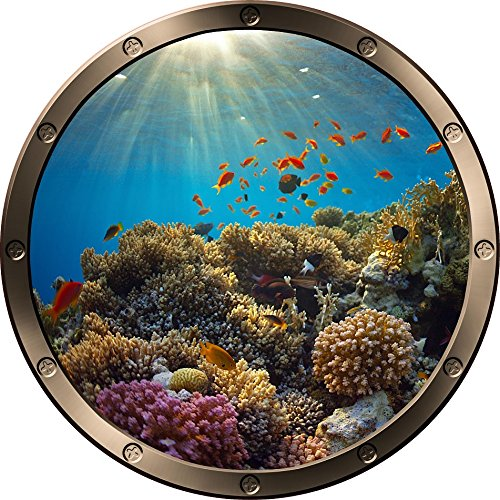 12  Porthole Instant Ocean Window Sea View Great Barrier Coral Reef  1 Round Pewter Wall Sticker Kids Decal Room Home Art D Cor Graphic Small