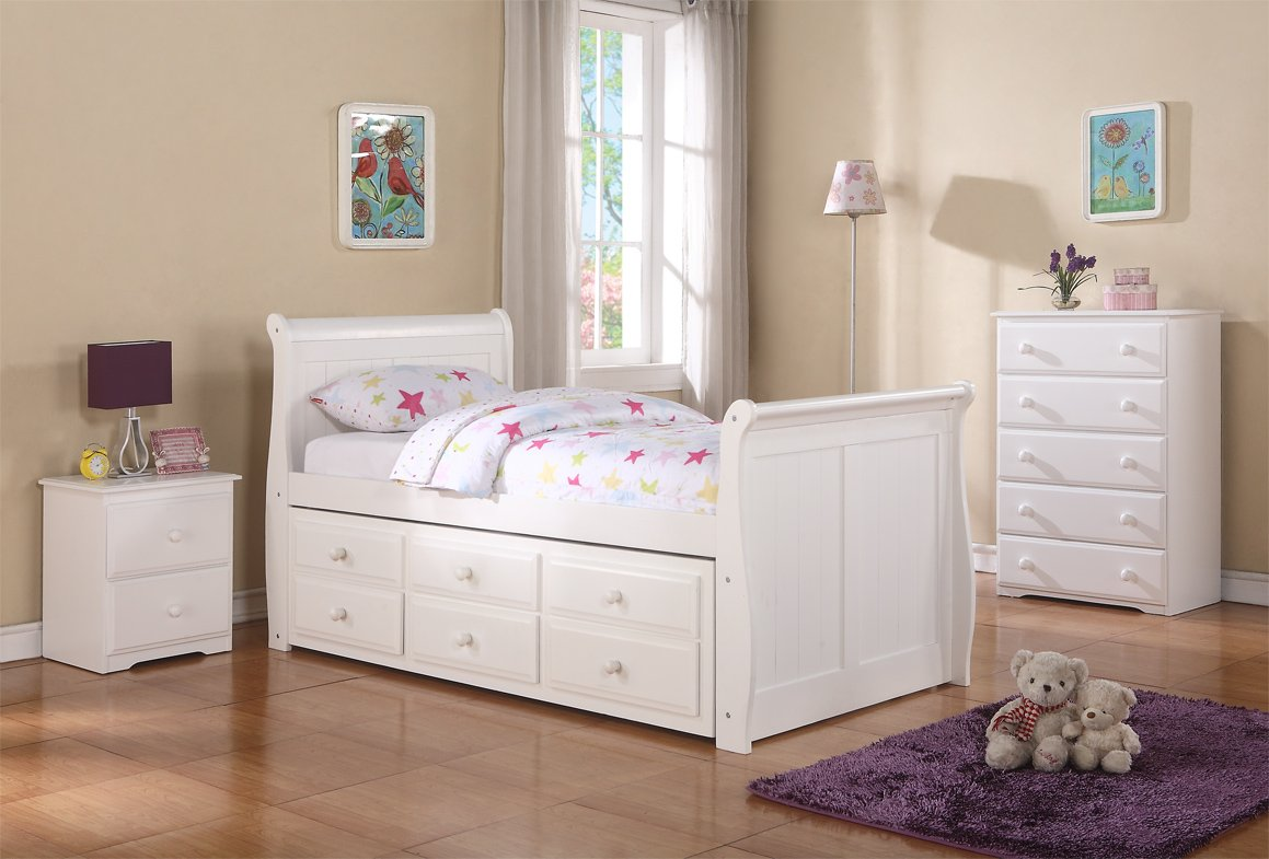 Twin Sleigh Captains Trundle Bed with Chest and Nightstand--White