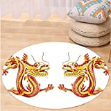 VROSELV Custom carpetDragon Decor Collection Identical Twin Dragons on Symmetric Axis Religious Mythic Featured Heritage Animal Design Bedroom Living Room Dorm Orange Red Round 79 inches