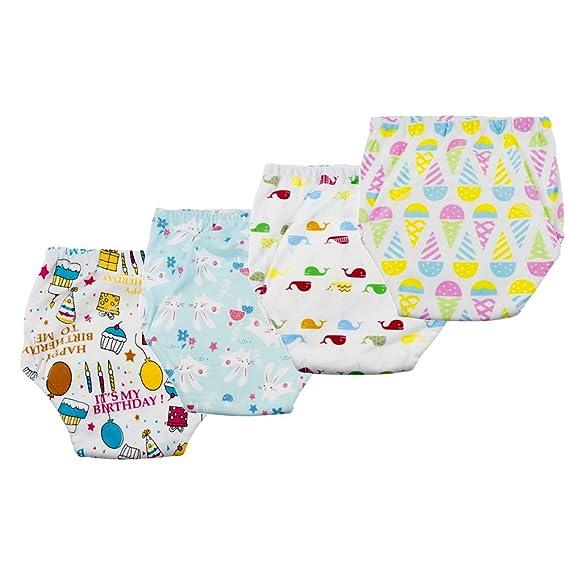 Anera Baby Underwear Pantalones de Entrenamiento para IR al ba/ño 4pcs Reusable Toddlers Kids Potty Training Calzoncillos de 6 Capas con un Dise/ño Lindo Unisex por 1.5-3 a/ños Beb/é
