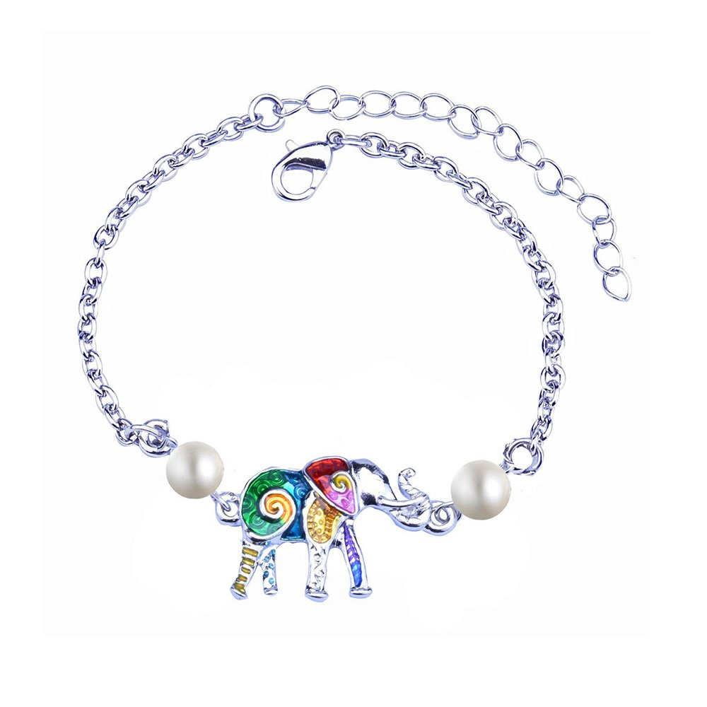 Dwcly Shining Pearl with Colorful Lucky Elephant Animal Bracelet Bangle Stylish Silver Wrist Jewelry