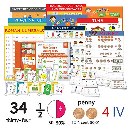 - Little Champion Reader Teach Math Learning Kit 9 : Measurement, Roman Numerals, Place Value, Time, Money, Counting Numbers 1-100 & to a Million, 3D Shapes, Fractions, Decimals & Percentages