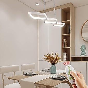 Anten 30W LED Lámpara Comedor Techo Colgante Regulable, Moderno Lámpara para Mesa de Comedor con Mando a Distáncia (69x17cm): Amazon.es: Iluminación