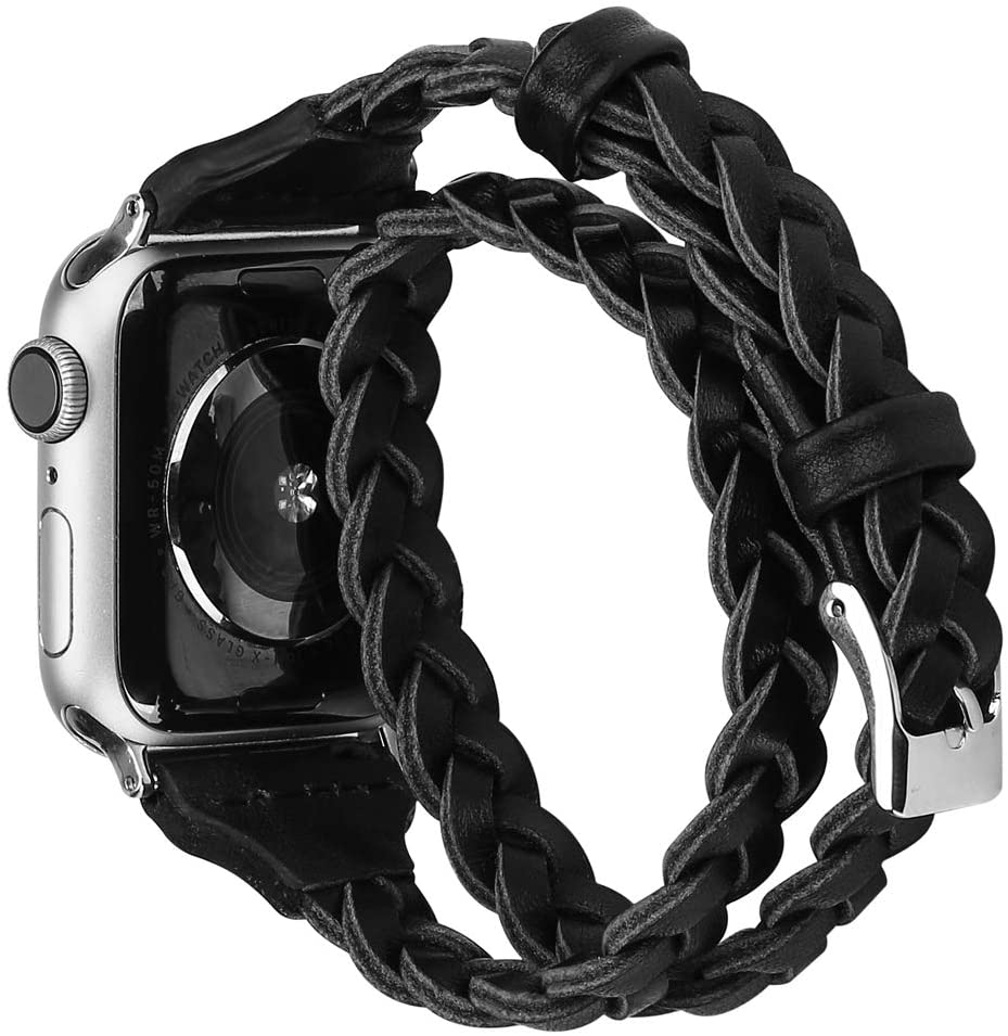 Moolia Double Leather Band Compatible with Apple Watch 38mm 40mm, Women Girls Woven Slim Leather Watch Strap Double Tour Bracelet Replacement for iWatch SE Series 6 5 4 3 2 1 (Black, 38mm/40mm)