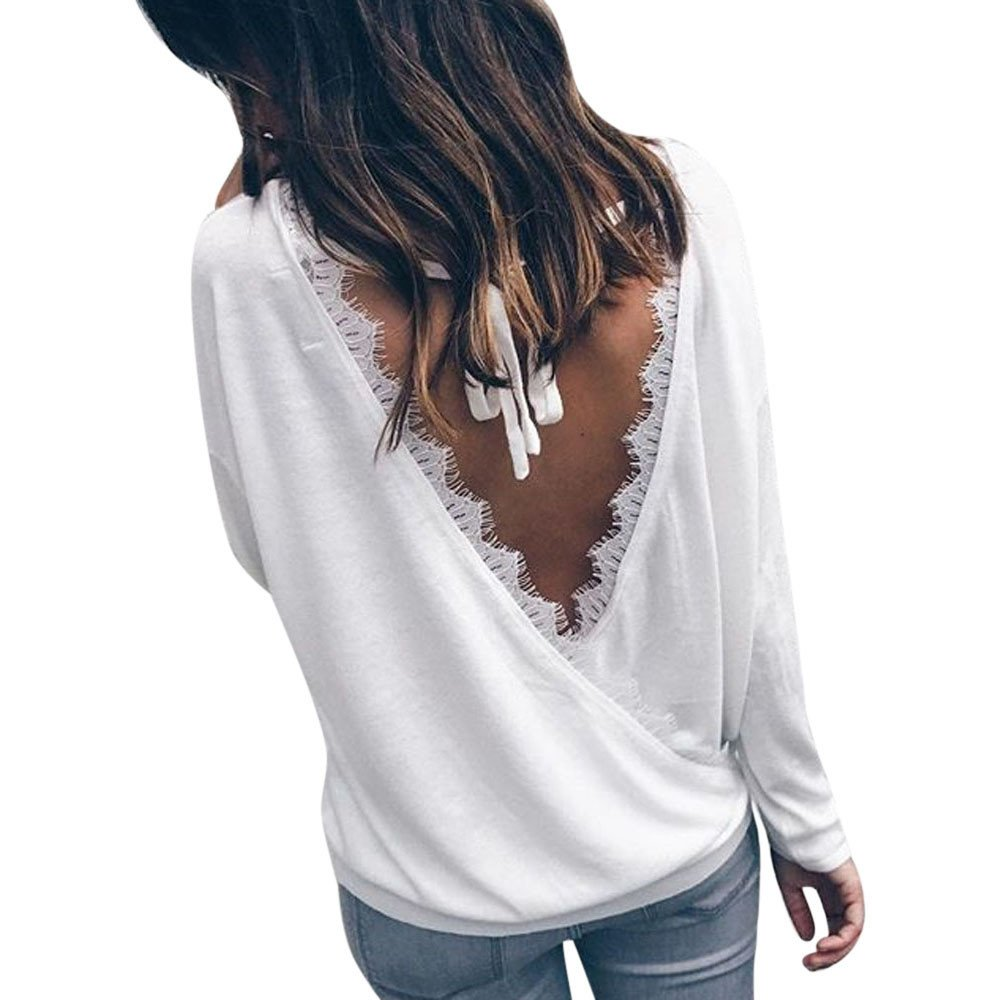rocicaS Clearance Women's Long Sleeve Fashion Solid Lace Backless Strappy Bandage Casual Jumper Pullover Blouses Top S-XL