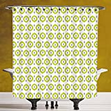 Fun Shower Curtain 3.0 by SCOCICI [ Ikat Decor,Abstract Round Oriental Asian Ancient Traditional Exotic Islamic Ikat Patterns Home,Green White Grey ] Fabric Shower Curtain