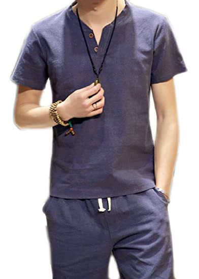 e3dc354cb ouxiuli Men's Short Sleeved Linen T Shirt Cotton Chinese Style V-Collar Set  at Amazon Men's Clothing store: