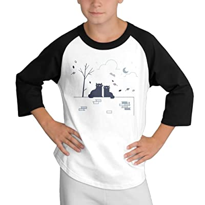 Happy Cat Couple Youth 3/4 Sleeves Raglan T Shirt 100% Cotton Boy Slim Fit Sports Uniforms