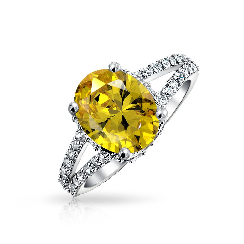 3 CT Oval Promise Engagment Ring Simulated Canary Yellow CZ Prong Set Pave Split Band 925 Silver