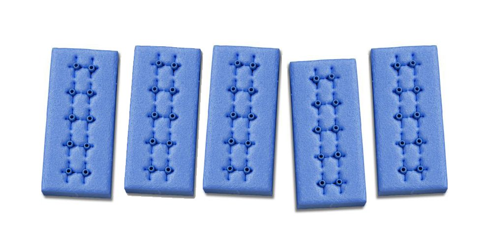 Cutting Edge Suture Clamp Tags - Operating Room Supply, 0.06'' x 0.5'' L, 5 pair/foam base, blue, radio opaque, non-toxic, latex, PKG (25)