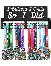GENOVESE I Believe I Could So I Did Medal Holder Display Hanger Rack Frame,Black Sturdy Steel Metal,Wall Mounted Over 50 Medals