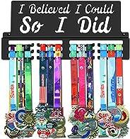 GENOVESE I Believe I Could So I Did Medal Holder Display Hanger Rack Frame,Black Sturdy Steel Metal,Wall Mount