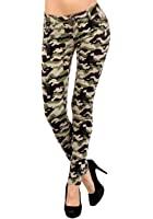 D7 Juniors women's Commando Military Camouflage ARMY PANTS 5 Pocket Skinny Jeans