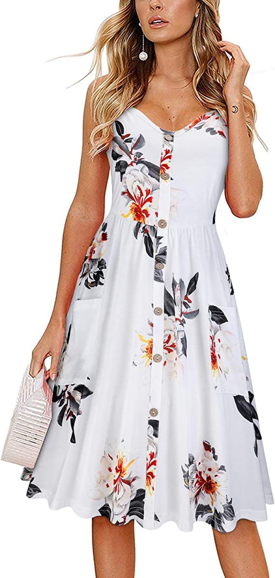 KILIG Women's Summer Floral Dress Spaghetti Strap Button Down Sundress with Pockets(Floral-04,L) best women's sundresses