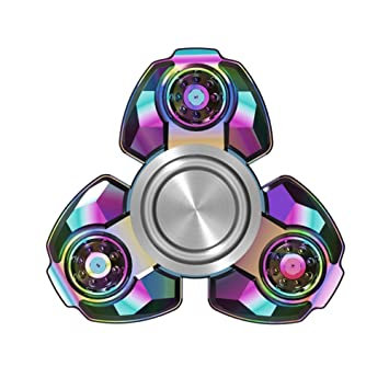 Fidget Spinner Rainbow Tri Metal Stainless Steel Cool Ultra Fast Hybrid Ceramic Bearing Metallic Figit