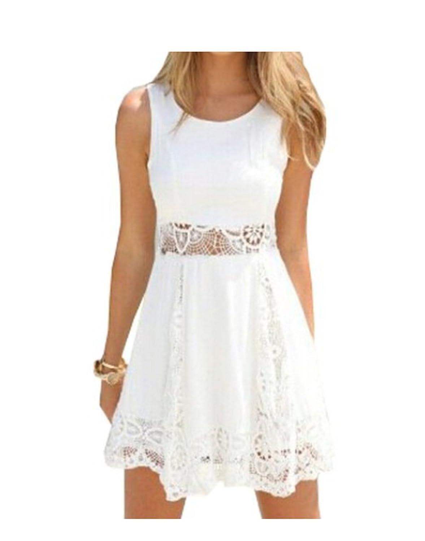 Qissy® Damen Sommerkleid Strandkleid Rundhals Ausschnitt ärmellos Chiffon Spitze Stitching eng Taille Rock Frauen Partykleid