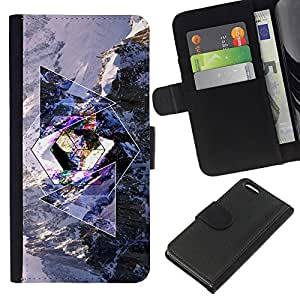 All Phone Most Case / Oferta Especial Cáscara Funda de cuero Monedero Cubierta de proteccion Caso / Wallet Case for Apple Iphone 5C // Geometry Psychedelic Snow Mountain