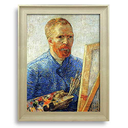 Self Portrait as a Painter by Vincent Van Gogh Framed Art Print Famous Painting Wall Decor Natural Wood Finish Frame