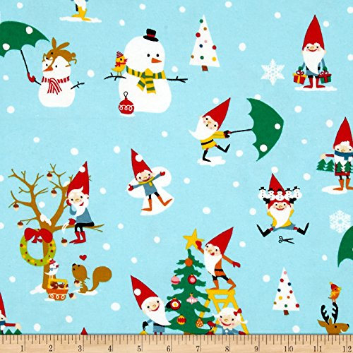 Michael Miller Flannel Gnome for The Holidays Blue Fabric by The Yard