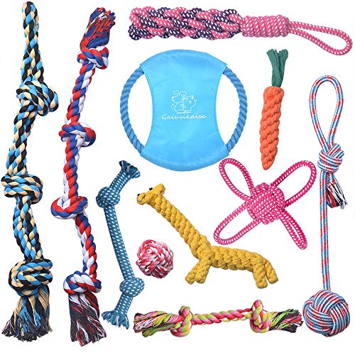 GaiusiKaisa Dog Toys Rope for Small Medium to Large Breed Puppies and Dogs, Dog Rope Toy for Aggressive Chewers, Durable 100% Natural Cotton Ropes, Tough Dog Toy Rope for Chewing, Playtime(11 Pack)
