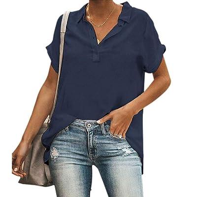 Winsummer Women's Rolled Up Short Sleeve Shirts Casual Tunic V Neck Button Henley T-Shirt Tops Summer T Shirt Blouse at Women's Clothing store