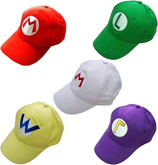 Un conjunto de 5 pcs gorra de béisbol Super Mario Bros Mario Luigi ...