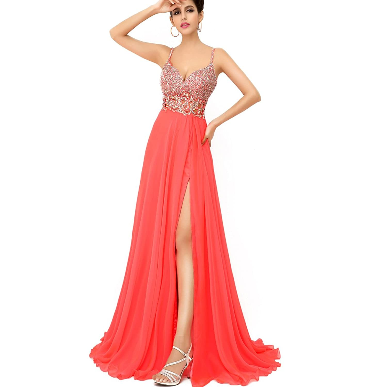 Sarahbridal Women's Long Split Side Spaghetti Strap Evening Prom Dress Sequins Chiffon Beaded Dresses Hollow Party Gowns SXU015