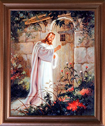 Impact Posters Gallery Framed Wall Decor Jesus Christ Knocking at The Door Religious and Spiritual Mahogany Art Print Picture Poster (18x22)